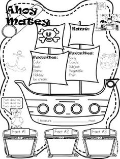 ALL ABOUT ME PIRATE THEME BACK TO SCHOOL - TeachersPayTeachers.com