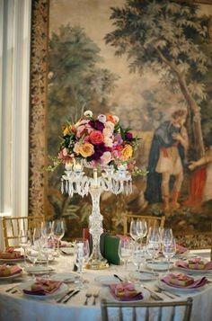 Round, formal reception tablescape