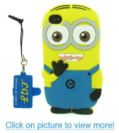 DD(TM) Style02 Despicable Me 2 Minions Henchmen Soft Silicone Case Skin Protective Cover for Apple iPhone 4 4G 4s 4thGeneration with 3 in 1 Anti-dust Plug/LCD Cleaning Cloth/Cable Tie