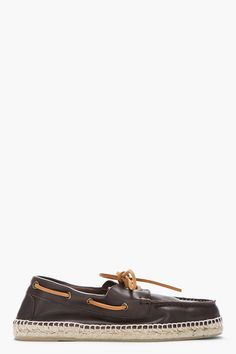 CASTAÑER Dark Brown Leather Nautico Boater Espadrilles