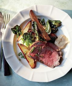 Roast Beef With Potatoes, Bok Choy, and Miso Mayo recipe