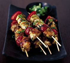 Spicy Kabobs #recipe - pairs with Red Moscato for a balance of spicy and sweet.