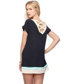 colorblocked shift dress
