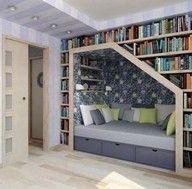 Bedroom bookshelf nook