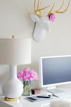 interior design, desk space, antler, home office decor, desks, deer heads, white gold, pink peonies, home offices