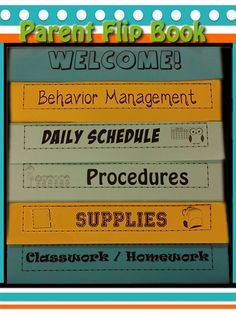 Parent Flip Book- Open House/Back to School Night/Conferences.