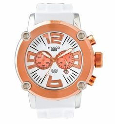 Mulco MW2-6263-016 Stainless Steel Chronograph Mwatch Collection white band and gold Bezel Watch MULCO. $224.82. GarageWatch`s  2yr Warranty Valid in the USA and Venezuela