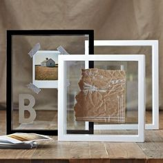 Tape Polaroid into frame with washi tape