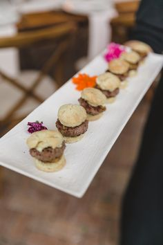 Oluwalu Plantation House Wedding Maui Hawaii Mini Slider appetizer Event Production and Catering: Celebrations Catering Maui Photography: Mike Adrian Decor: Rio Event Design Floral: Teresa Sena Designs