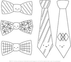 Free tie embroidery patterns by wildolive. So cute..but I think I will skip the cutesy little faces on them. tie printable, embroidery patterns, embroideri pattern, activities for kids, diy crafts, father day, bow ties, tie templat