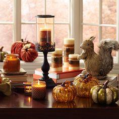 Amber Crackle Glass Pumpkins