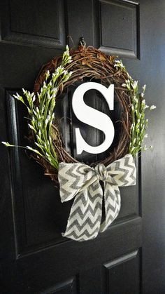 Chevron Burlap, White Wildflower Buds, and White Monogram Wreath for Spring and Summer or Wedding