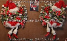 Here is the 2012 Version of the Santa Diva Wreath...I made a Left/Right pair for a Customer..Petals & Plumes-Hat n' Boots Collection 2011©
