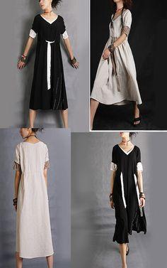 SALE - Rain - embroidered cotton linen dress (Q1003)