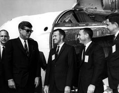 President Kennedy meets with NASA staffer G. Low,  Astronauts Gordon Cooper and Gus Grissom, and NASA staffer G. M. Preston at Cape Canaveral on November 16, 1963. --NASA Kennedy Space Center (NASA-KSC) ID: LOC-63P-171