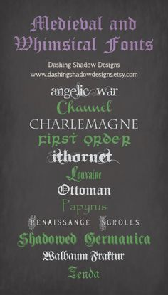Medieval and whimsical fonts #craft #scrapbooking #titles #fonts #whimsical #medieval #oldenglish