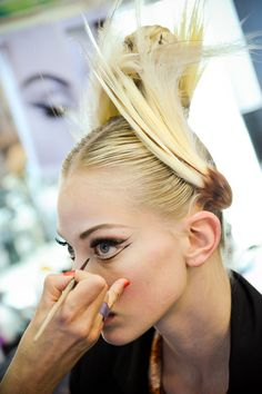 Tanya Dziahileva backstage at Jean Paul Gaultier Haute Couture Fall/Winter 2011