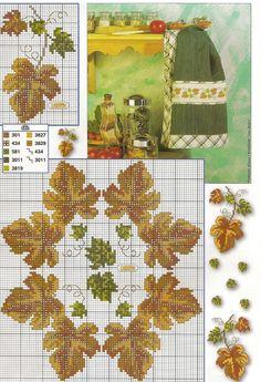 Gráficos de Ponto Cruz e Croché: Folhas de Outono