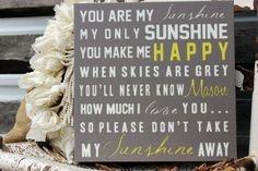 You Are My Sunshine Sign on Canvas or Wood, Canvas Nursery Sign, Baby Sign, Wall Sign, Wall Art on Etsy, $44.99