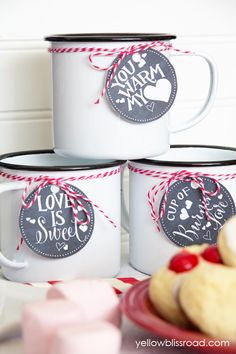 Valentines Hot Chocolate Bar Free Printable Drink Tags | Yellow Bliss Road