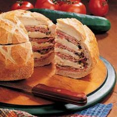 Awesome sandwich - a family favorite. Great to make the day ahead and take to a picnic. Usually make as a treat when we go to amusement parks. This sandwich is a little pricey to make, but so much better than park food or regular sandwichs. I usually make it on an Italian loaf and I adjust the meat and cheese to what's available or on special at the grocery deli