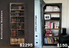 Restoration Hardware shelf hack - I am so doing a version of this in the dining room as a buffet.