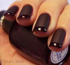 black nails - matt nail with gloss tip