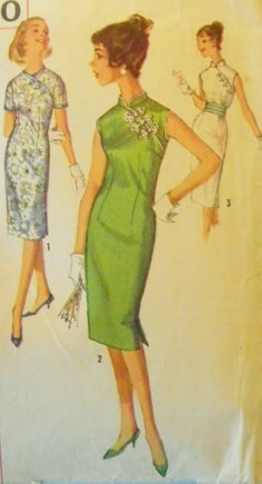 Vintage Asian Cocktail Dress Pattern-1950s Cheongsam Dress-Bust 34 Simplicity 3000.  Yes I made this in 50s  was green. good old days!!!