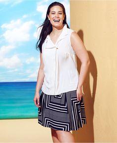 Calvin Klein Plus Size Sleeveless Moto Top & Faux-Leather-Trim Printed Skirt - Plus Size Catalog Looks - Plus Sizes - Macy's#fn=sp%3D1%26spc...