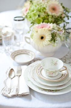 vintage white and floral place setting