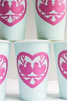 Valentine Party Cups - Love Birds