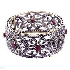 14k Gold Victorian Ruby Bangle