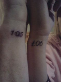 Twin tattoo I got the time he was born and he got the time I was born