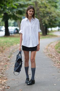 fashion models, spring colors, fashion week, white shirts, socks, summer work outfits, street styles, classic white, mini skirts
