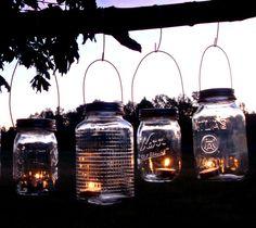 Set of 6 Mason Jar Hanging Tea Light Lantern / Luminaries