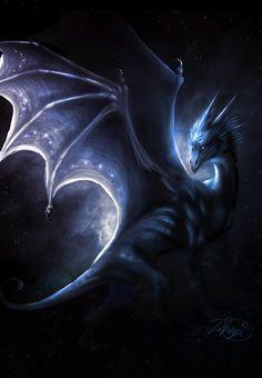 Blue Dragon. Fantasy Art.