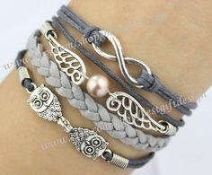 Infinity,Wings,& Owls Charm Bracelet in Silver- Harry Potter Inspired Bracelet-Wax Cords,Personalized Bracelet-Friendship Gift