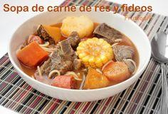 Sopa de carne de res y fideos http://sazonboricua.com/sopa-de-carne-de-res-y-fideos/