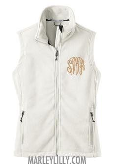 Monogrammed White Fleece Vest