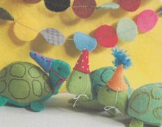 turtle party, animals, softi, toy, party hats