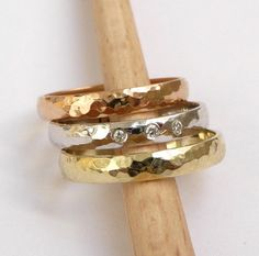 Gold wedding rings set engagement ring diamond ring by havalazar, $735.00