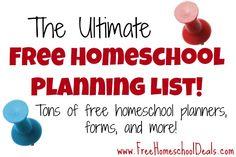 Ultimate Free Homeschool Planning List: Free Homeschool Planners, Forms, and more {TONS of free homeschool planners!!}