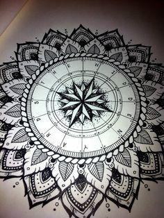 Mandala compass on pinterest mandala compass tattoo world globe