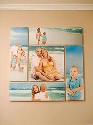 beach photos, canvas photos, family pics, photo display, famili, photo walls, photo arrangement, family photos, photo collages