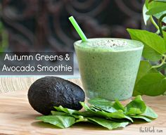 Autumn Greens & Avocado Smoothie (use spinach, chard, kale or blend) plus Six Fall Season Smoothie Recipes -- all great for quick breakfast or post workout recovery snack| thefitfork.com