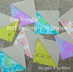 Free Printable Half-Square Triangle Reference Sheet - Gen X Quilters