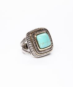 Turquoise & Silver Square Ring