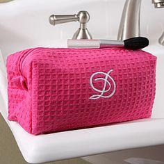 Embroidered Pink Make-up Bag - Jenny, Heather, Carolina