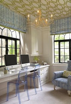 Beautiful office space in white, light blue and light green