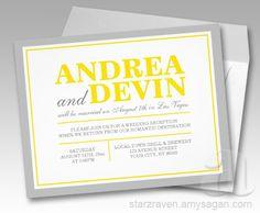 Gray & Yellow Wedding Reception ONLY Invitations